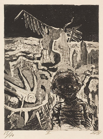 Otto Dix - Night-time encounter with a madman, 1924