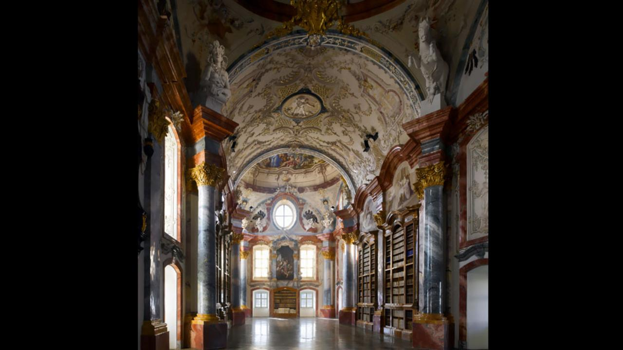 The highly ornamented library of Altenburg Abbey in lower Austria