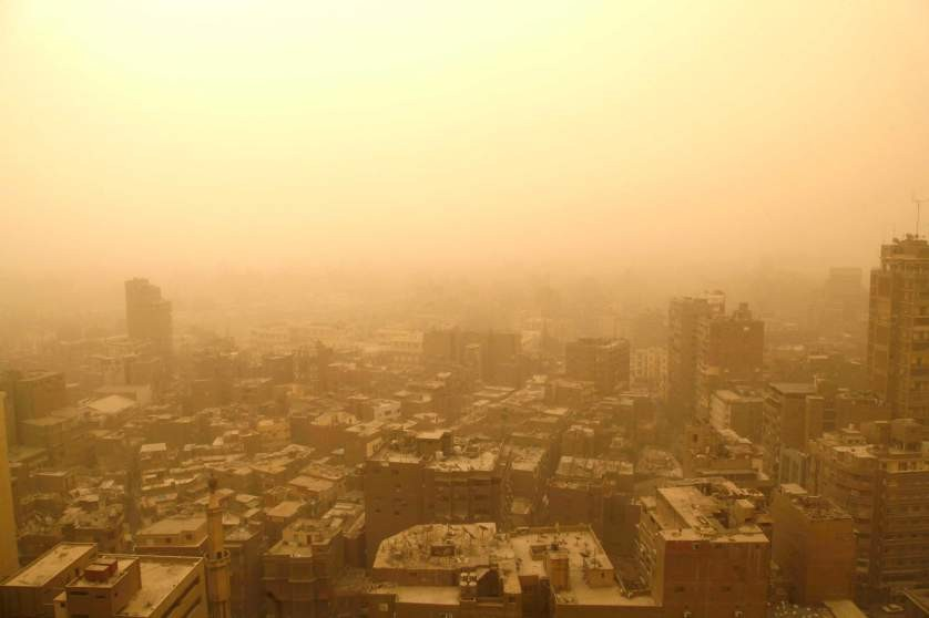 General view of Cairo during a sandstorm