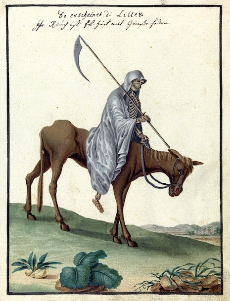 L0076368 Illustration of the Grim Reaper on horseback, MS 1766.