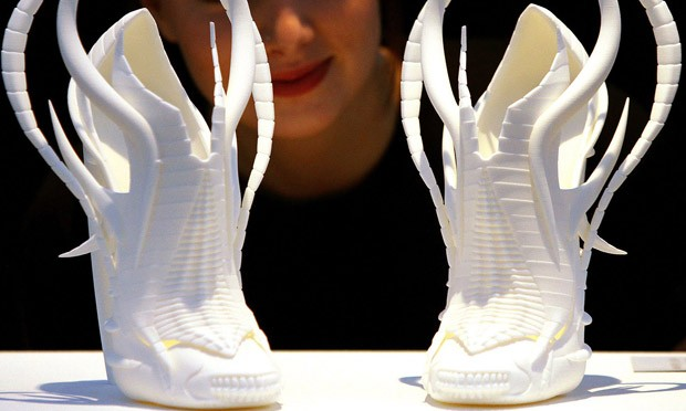 A pair of shoes created using 3D technology
